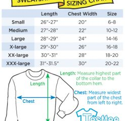 Men Women Sweatshirts Size Chart - Testtee