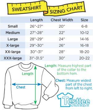 Men Women Sweatshirts Size Chart - Testtee