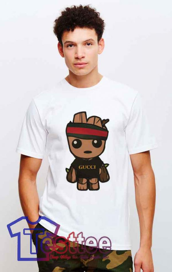 Cheap Baby Groot X Gucci Red Strip Tees