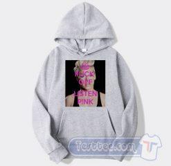 Cheap Fuck Off Listen Pink Hoodie