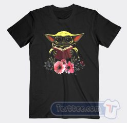 Baby Yoda Reading Book In The Flower Graphic Tees